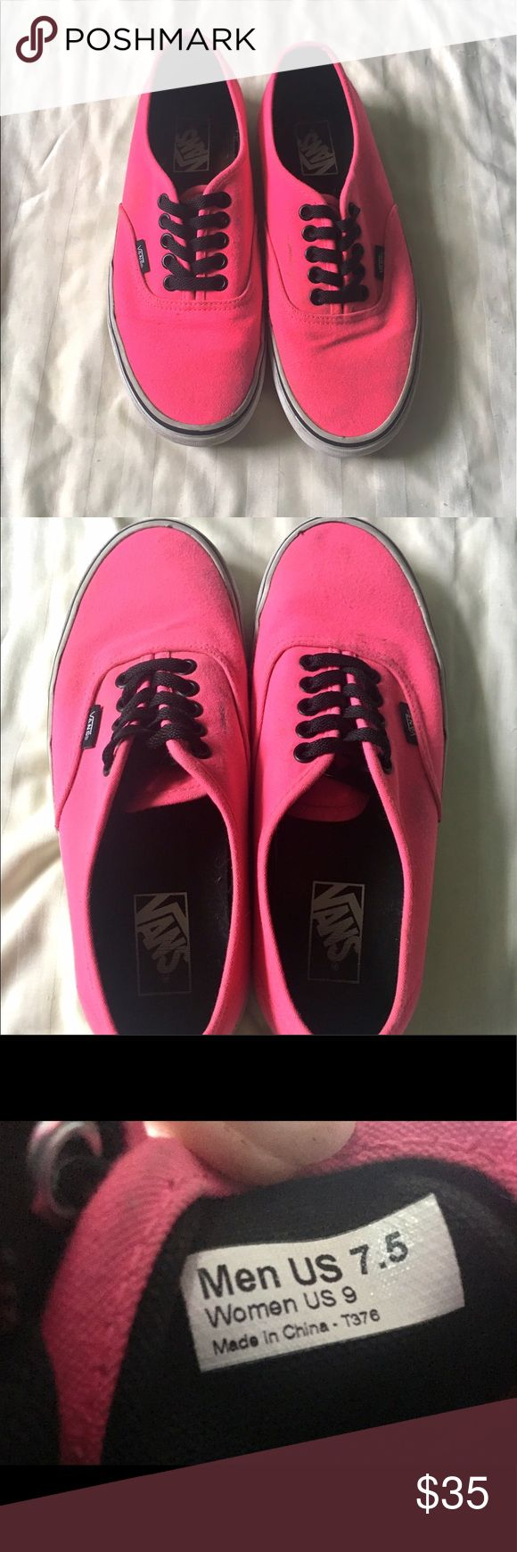 Hot Pink Vans Authentic Skate Shoes •Hot Pink Vans •Thick sole •Lightly worn •Minor staining on the pink but can be cleaned •Fits mens size 7.5 •Retails for $55 ❗️•Great to bundle with other items for a discount!! ❗️ Vans Shoes Sneakers