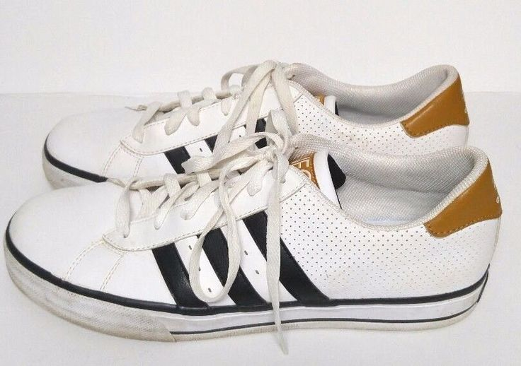 Adidas Neo Shoes Sneakers Black White Brown Ortholite Men's 10.5 M Leather Upper #adidas #AthleticSneakers