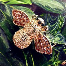 2015 Moda Yaz Takı Broche Abelha Eşarp Için 18 K Altın Kaplama Ucuz Arı Broş Kristal Rhinestone Broş Kadınlar Kız(China (Mainland))