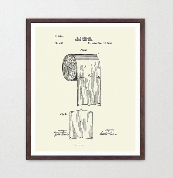 paper design print bathroom art bathroom wall print patent print