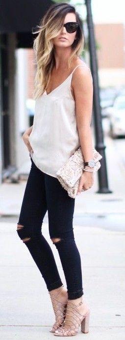 #summer #adorable #outfits | White Silk Top + Black Denim