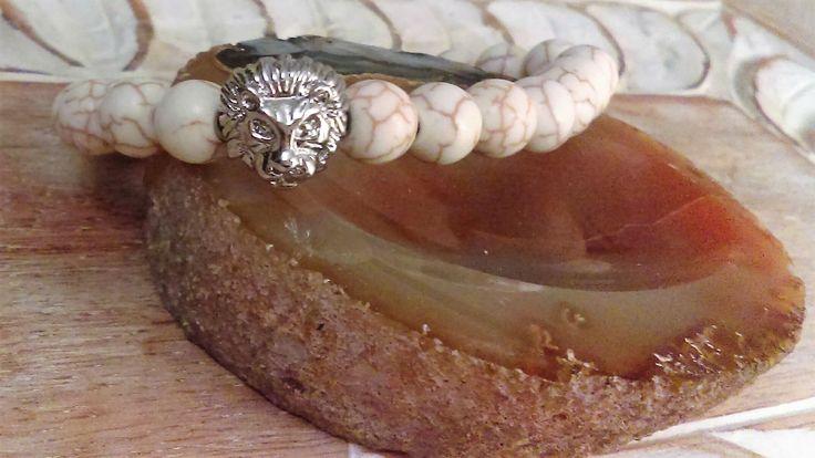 Cream Howlite bracelet men's women's  gift Gemstone Bracelet  gift under 20 stone, Gift for him, Lions Head silver charm, Stacking Jewellery by ReigningCrownBeads on Etsy