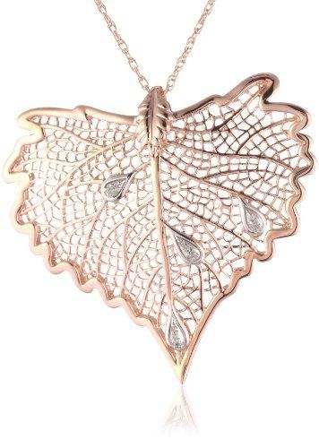 10k Rose Gold Plated Sterling Silver Multi-Point Diamond Leaf Pendant Necklace with Diamond Dew Drops (1/20 cttw) Amazon Curated Collection. Save 42 Off!. $49.00. Made in China