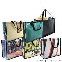 Eco Up-cycled PVC beach / shopper bag with carry handles. www.ccpromos.co.za