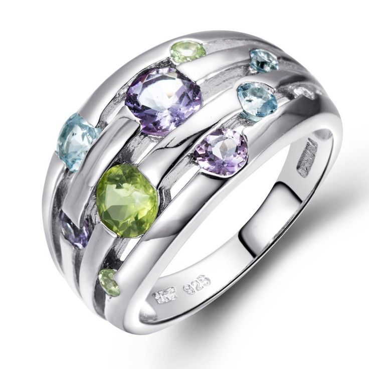 Natural Peridot, Amethyst, Blue Topaz  Stonse  Solid 925 Sterling Silver Ring