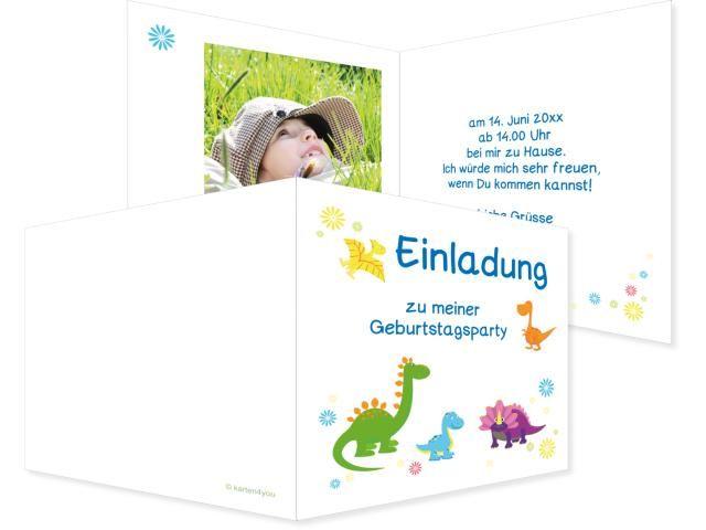 Dinos Einfachkarte 2-seitig 170x120mm bunt, Geburtstag, Einladungskarten, Geburtstagskarten, Kindergeburtstag, Kids, Birthday,  Party, Birthdayparty