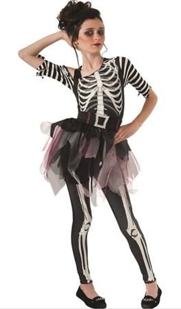 Our Skelee Ballerina Girl's Skeleton Costume is a fun costume for a Halloween trick-or-treating adventure. The Skelee Ballerina Girl's Costume skeleton jumpsuit with ballerina tutu. This Skelee Ballerina Girl's Costume is available in various children sizes.