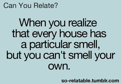I know! It aggrivates me! Whenever someone comes over, I ask them what our house smells like, because I want to know so badly... | See more about cleaning humor, house smells and houses.
