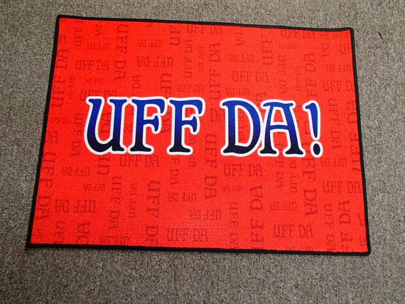 Scandinavian Norwegian Uff Da Rug  Door Mat  by GiftChaletAuburn, $35.00