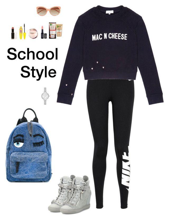 """School Style (2)"" by irisazlou on Polyvore featuring mode, Linda Farrow, NIKE, Gem&i, Giuseppe Zanotti, Chiara Ferragni, Garnier, NYX, Maybelline et Wet n Wild"