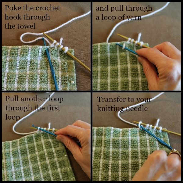 How to knit tops for dish towels