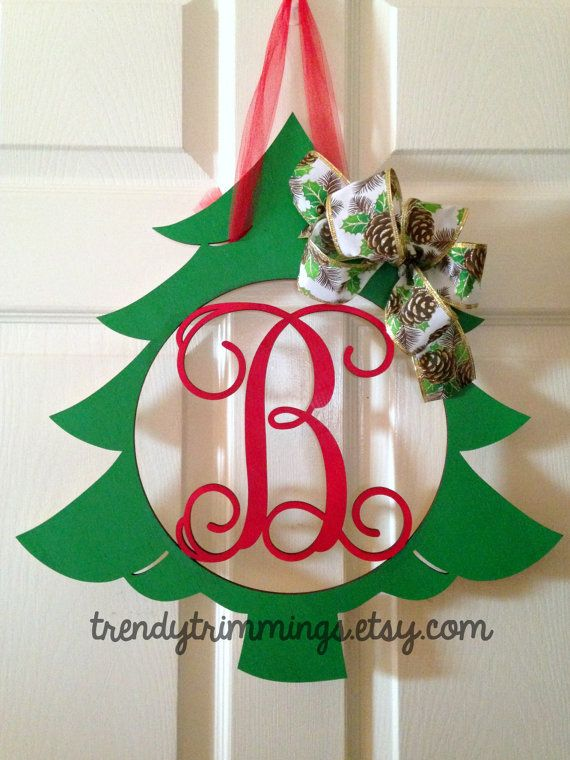 Christmas Tree Monogram Holiday Trimmings Wooden