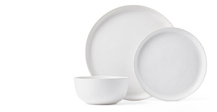 Kobe 12-teiliges Geschirrset aus Ton, Weiß