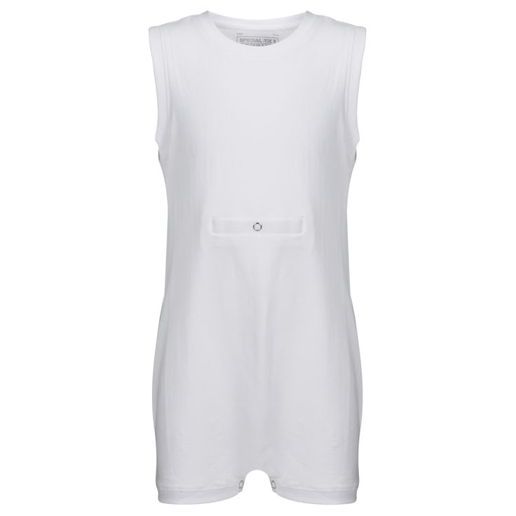KayCey SUPER SOFT Bodysuit - Sleeveless with Tube Access - WHITE | http://specialkids.company/