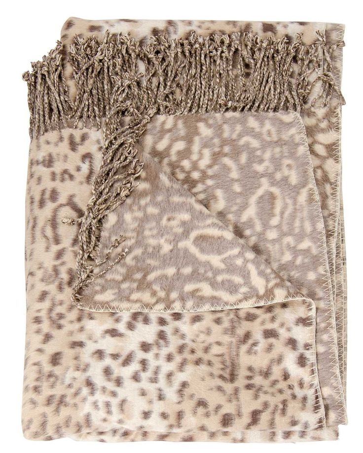 Mina Victory Throw Snow Leopard Throw Beige Throw Blanket