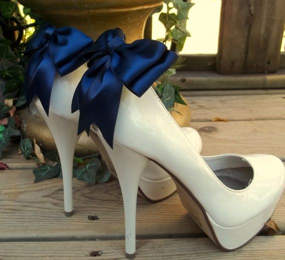 Navy Blue Satin Bow Shoe Clips  set of 2   Bridal by ShoeClipsOnly, $26.00