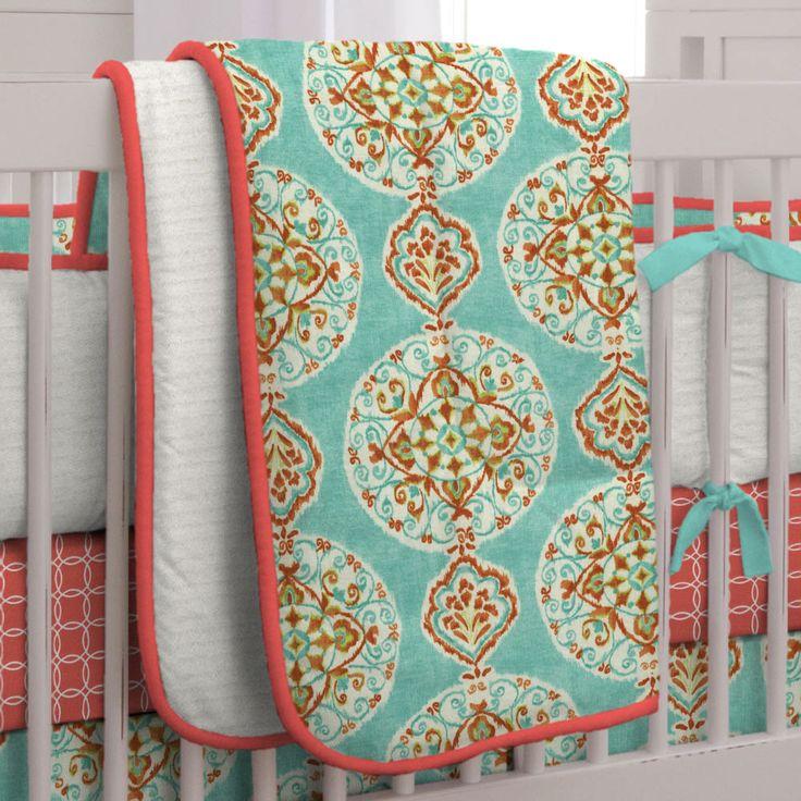 Coral and Aqua Medallion Crib Comforter #carouseldesigns