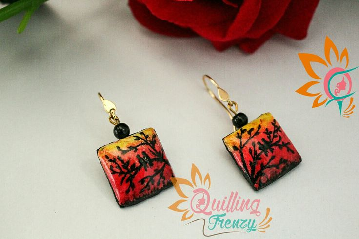 #quillingfrenzy #cabochoncraze #cabochon #earrings #sunset #birdsonatree #silhouette #gradient #yellow #orange #red #black