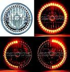 "7"" Amber LED Angel Eye Ring Motorcycle Halo Headlight Blinker Turn Signals Light"
