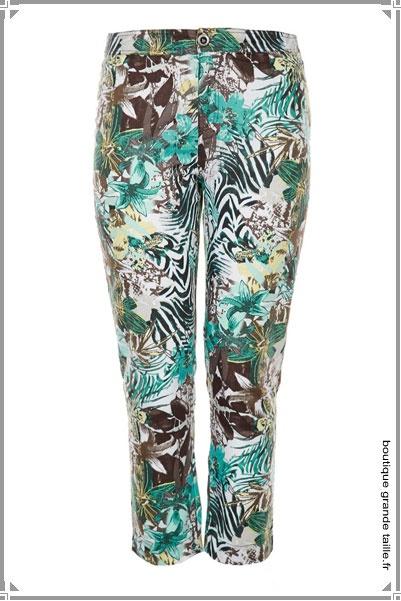 Pantalon imprimé savane bleu turquoise, marron et blanc, zébré et fleuri,  très tendance