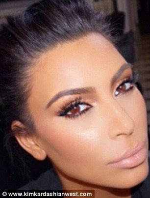All done: Kim flaunted her look, complete with lots of false lashes, before getting ready ...