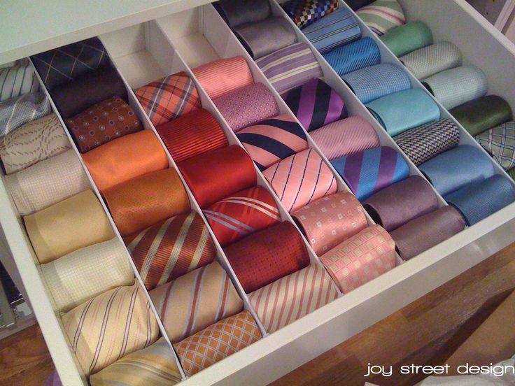 Necktie Storage Started Out By Using These Custom Drawer Dividers
