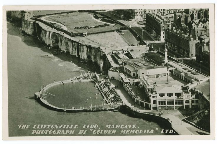 Lido aerial view 1948 [PC]   Clifftonville Margate UK