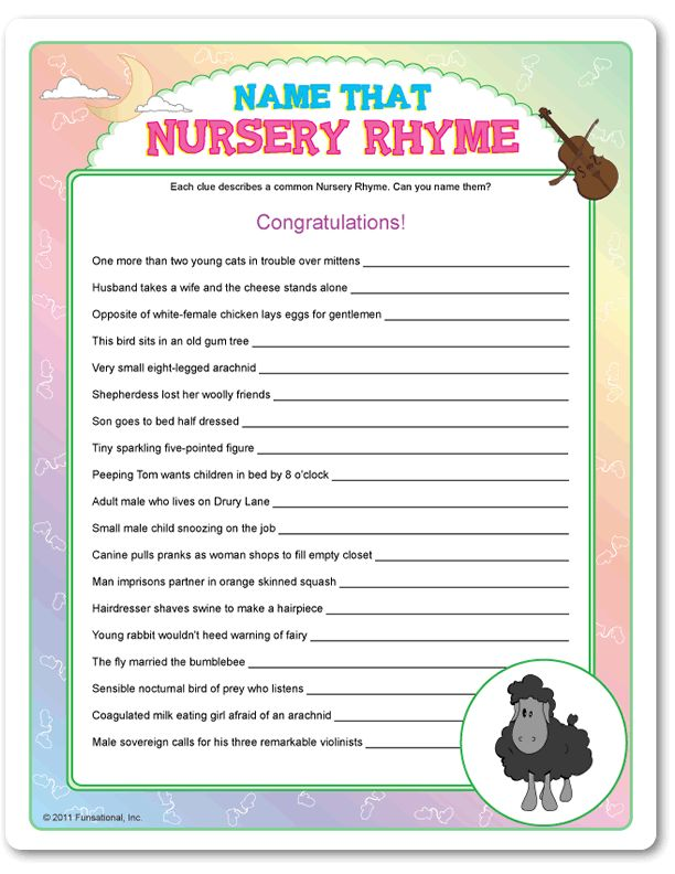 Name Nursery Rhymes party game Mother Goose Baby Shower Baby