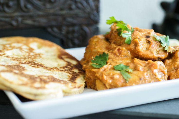 Tikka Masala with Naan Bread - Recipe for Naan Bread and link to Chicken Tikka Masala #paleo #chicken #recipe