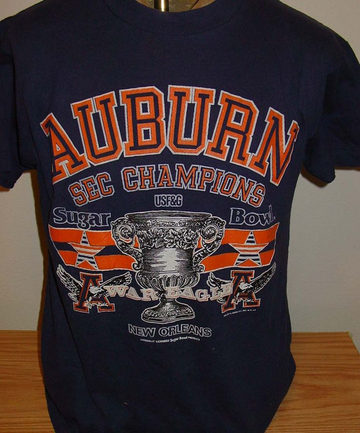 vintage 1980s Auburn Tigers Sugar Bowl SEC champions t shirt by vintagerhino247 on Etsy