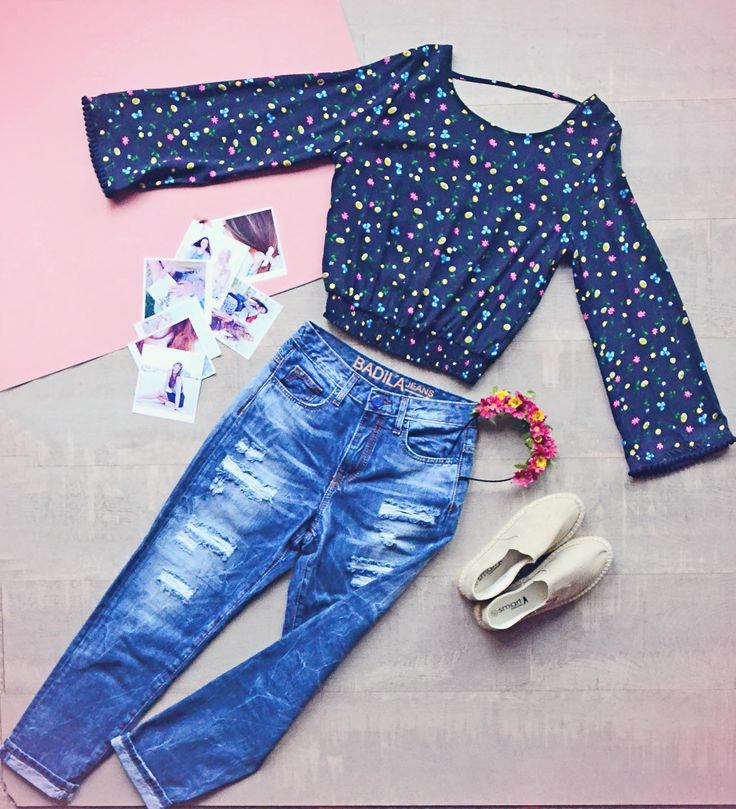 Girly as it is <3 Highwaist jeans and colorful printed shirt!   Badila flatlays <3 SS16 Collection