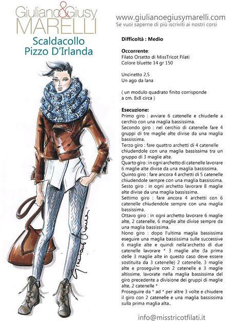 Il filo di Arianna maglia e uncinetto : Tutoriall scaldacollo a pizzo d'Irlanda di Giulian...