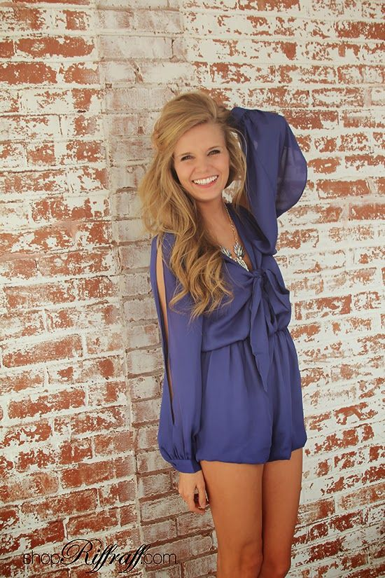 ONLINE EXCLUSIVE! You are sure to turn heads in the Tie and Split Romper, perfect for spring break or a fun night out with friends. With tie front and open sleeves. Carly is wearing a size small and is 5'3″. Made of 100% polyester. #socialsmallbiz: