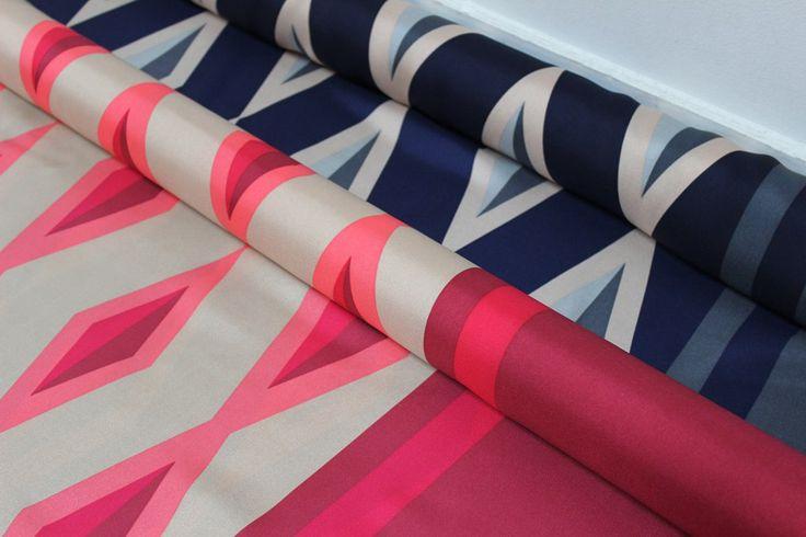 Geometric Border Print Silk Twills