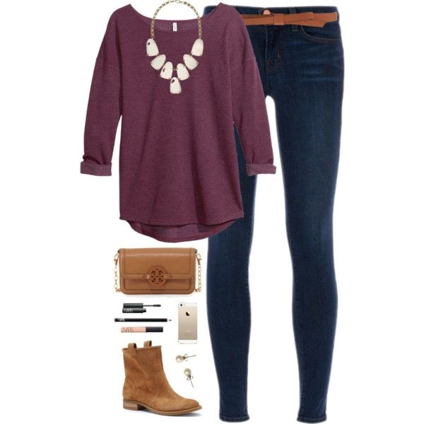 statement necklace by classically-preppy on Polyvore featuring H&M, J Brand, Sole Society, Tory Burch, Kendra Scott, J.Crew, Ganni and NARS Cosmetics