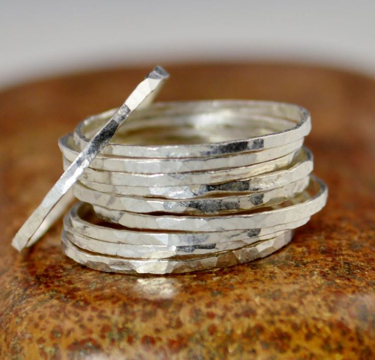 Super Thin Pure Silver Stackable Ring(s), Silver Stacking RIngs, Silver RIng, Dainty Simple Silver Ring, Hammered Silver Rings, Silver Band $6 via @shopseen