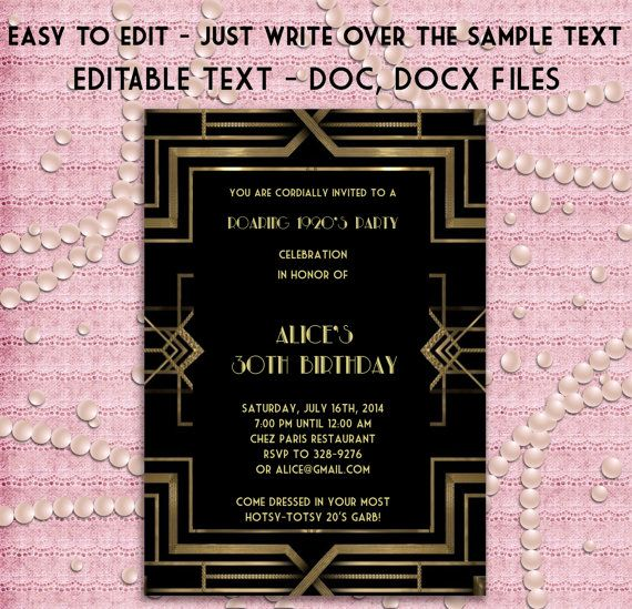 Great Gatsby Style Art Deco Party Invitation - Prom ...