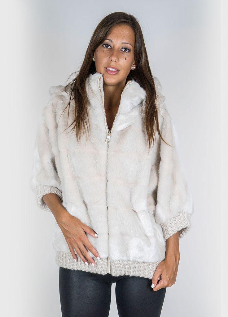 """Giaccone in pelliccia ecologica Nenette """"visone"""", Tasche a taglio. Finitura orlo, polsi, interno collo in maglia."""