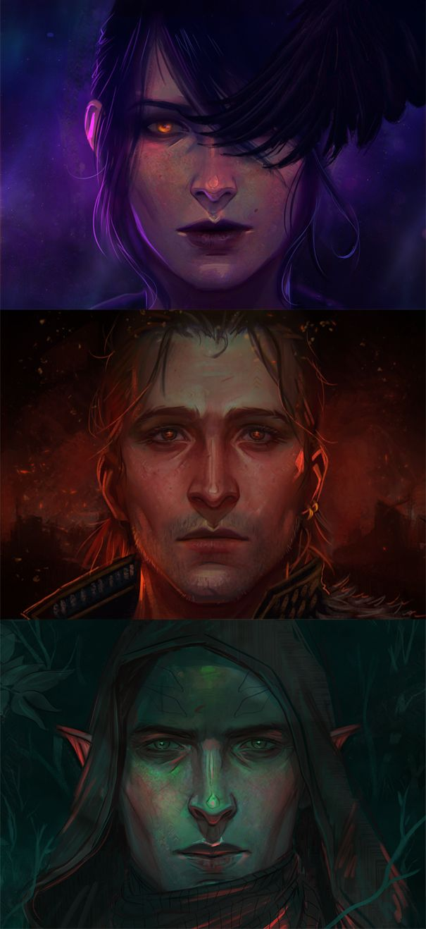 Apostates (Dragon Age — Morrigan, Anders, Solas) by Withoutafuss.deviantart.com on @DeviantArt