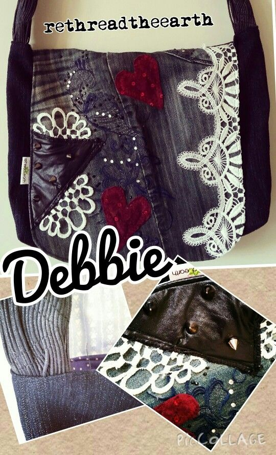 Upcycled denim bag with velvet, studs and lace by Rethread the Earth