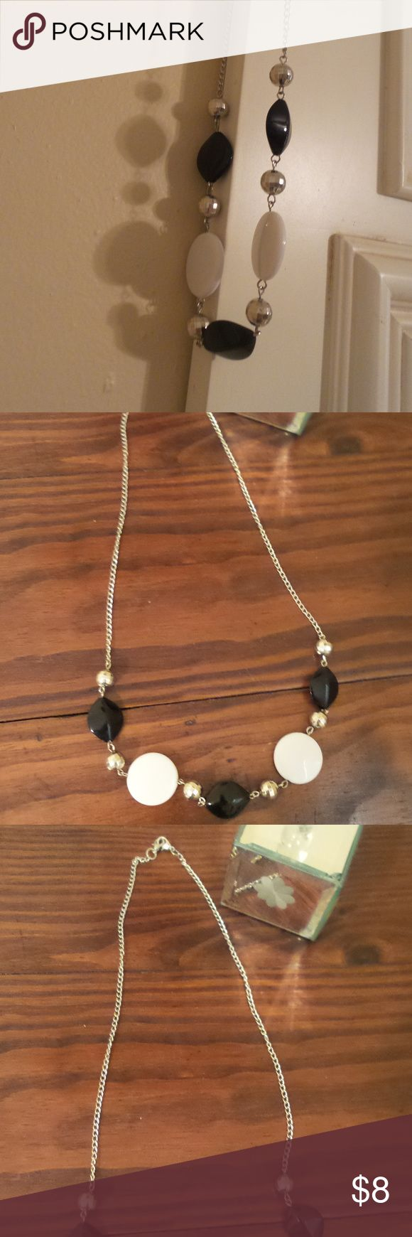 Mid-length beaded chain necklace . Beaded chained necklace Jewelry Necklaces