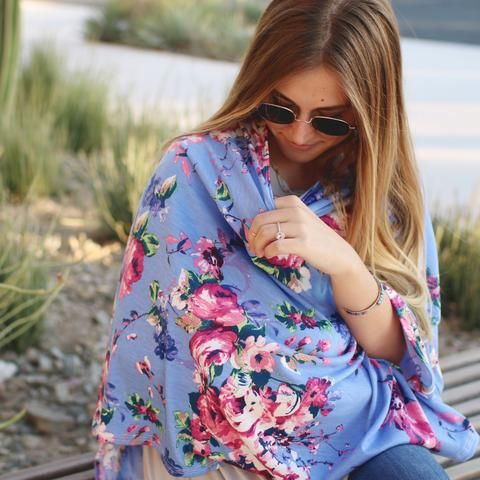 Nursing Cover - Sky Flowers Nursing Poncho & Car Seat Cover