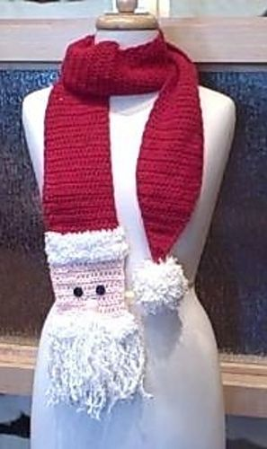 Santa Scarf: Christmas Scarf, Christy Fisher, Christmas Crochet Scarf, Santa Scarf, Crochet Santa, Crochet Pattern, Crochet Holiday, Scarf Patterns