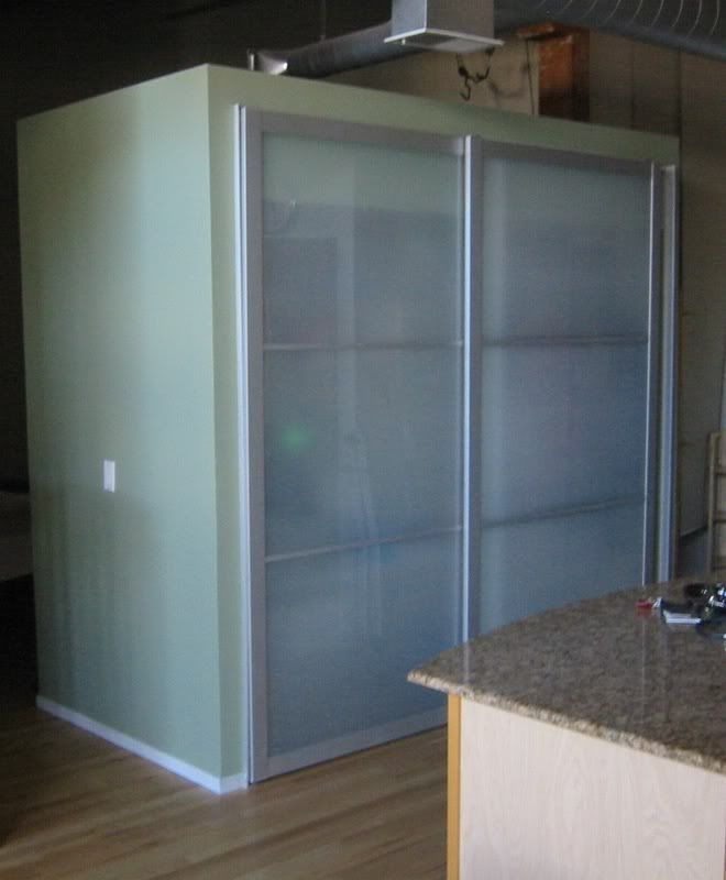 using ikea pax wardrobe doors as closet doors room. Black Bedroom Furniture Sets. Home Design Ideas