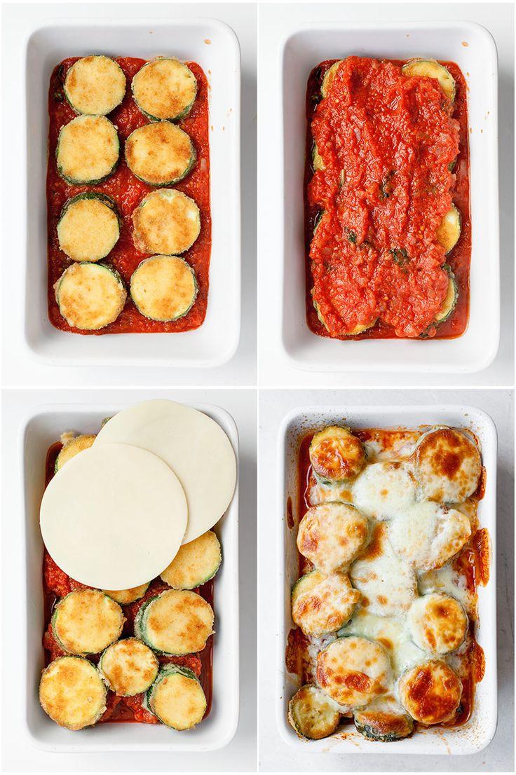 Plasterki cukinii zapiekane w sosie pomidorowym z mozzarellą