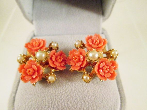 Coral LUCITE Carved Rose Earrings Pearls Gold by VintageBADTIQUE