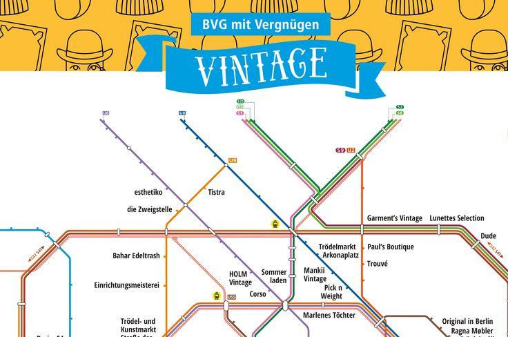 Zu den schoensten Vintage-Laedens Berlins.  In unserer neuesten Netzplan-Karte führen wir euch zu den schönsten Vintage- und Second-Hand-Läden in Berlin.