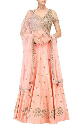 Arpita Mehta Nude Peach Gingko Embroidered Lehenga Skirt and Cold Shoulder Blouse Set #happyshopping #shopnow #ppus