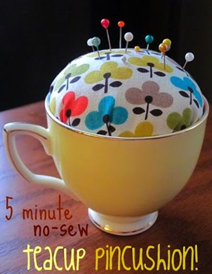 No Sew  This no sew pincushion takes a fabric scrap and a teacup, and takes about 5 minutes to make.  Get the instructions at Punk Projects