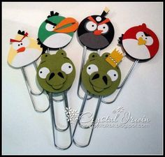 Angry Bird paper clips punch art